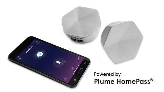 Photo of Plume pods and cell phone. Powered by Plume Home Pass.